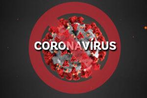 Vírus do coronavírus com um círculo vermelho cortado para representar o combate à essa pandemia